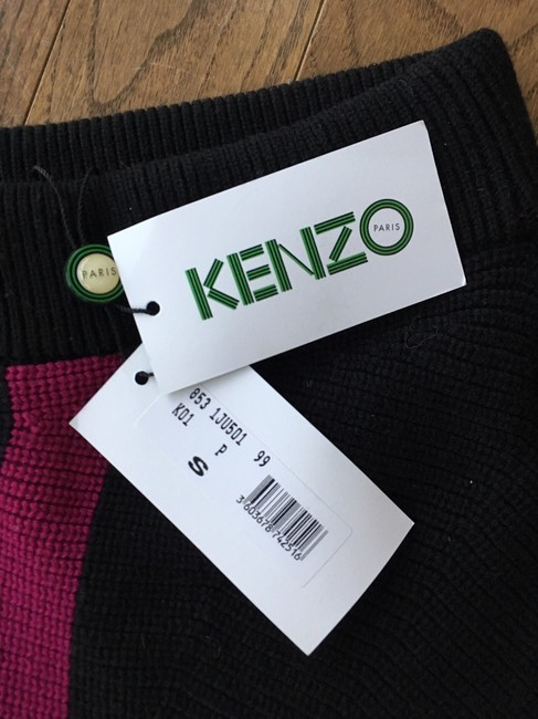 Kenzo Ribbed Knit Color-blocking Skirt Blue Black Pink White Image 4