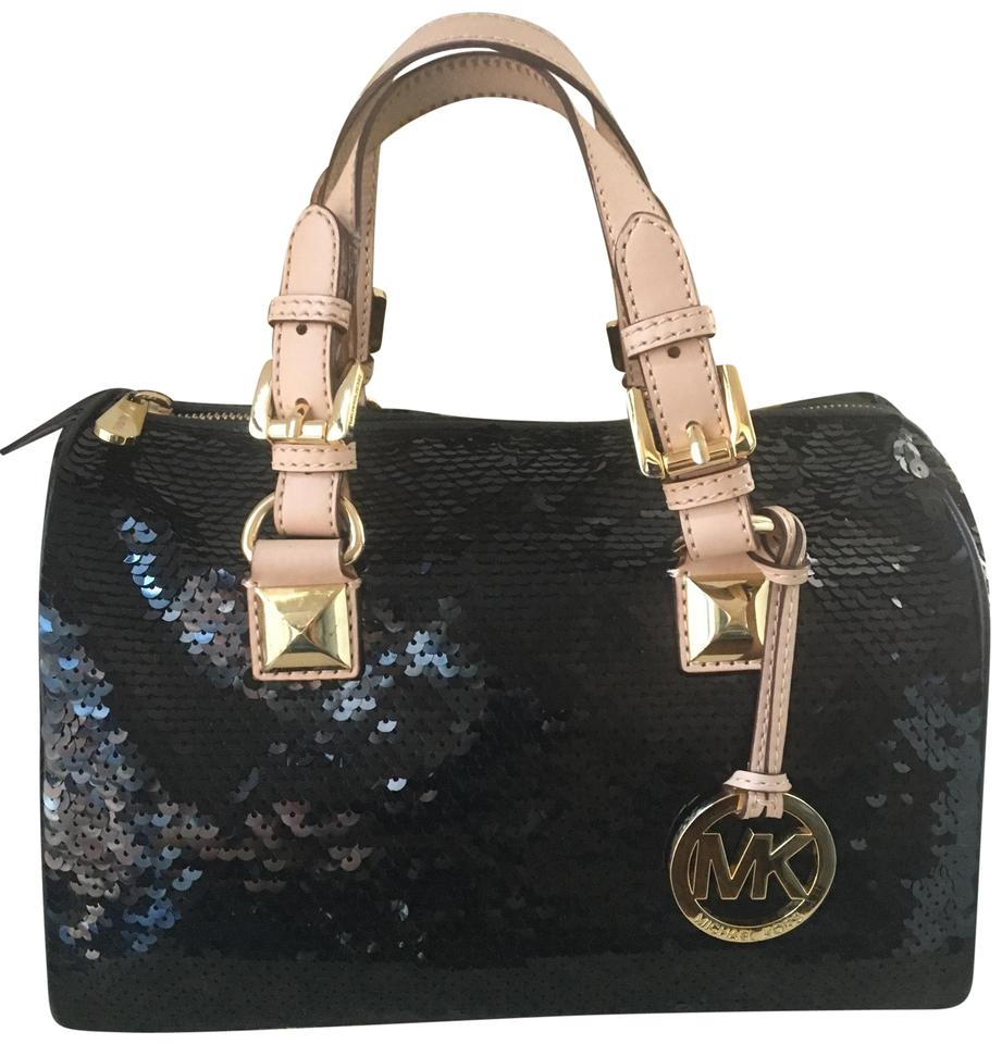 c519ca5cc1f3 Michael Kors Mk Grayson Limited Edition Black Leather Sequence and Gold  Hardware Satchel
