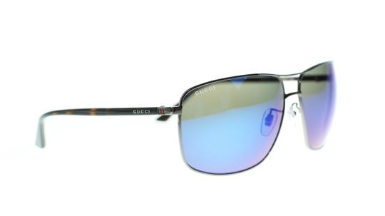 Gucci Gucci Men's Pilot Sunglasses GG0065SK 003 Ruthenium Havana/Blue Mirror Image 1