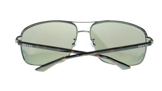 Gucci Gucci Men's Pilot Sunglasses GG0065SK 003 Ruthenium Havana/Blue Mirror Image 2