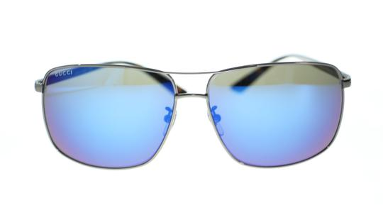 Gucci Gucci Men's Pilot Sunglasses GG0065SK 003 Ruthenium Havana/Blue Mirror Image 3