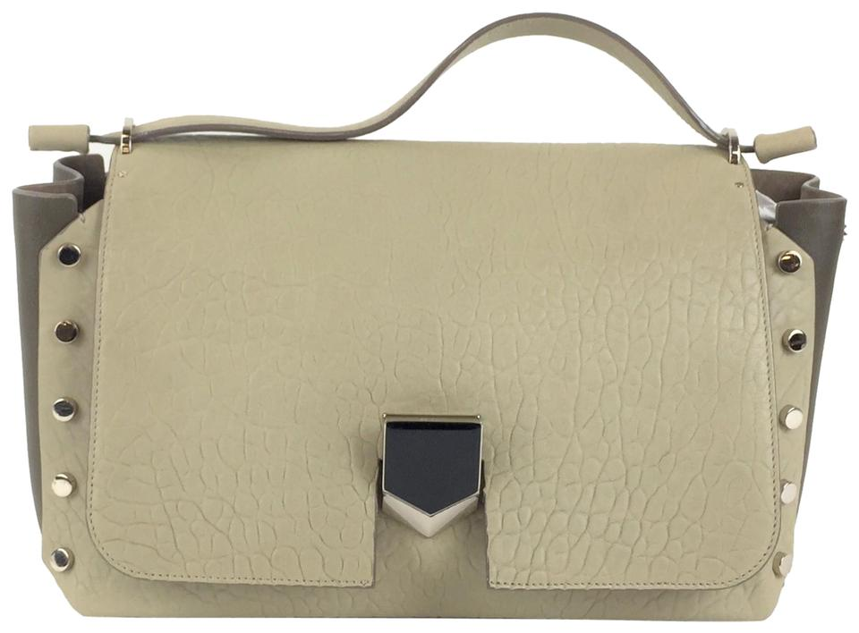 bdba22e05fb9b Jimmy Choo Lockett Convertible Beige Leather Shoulder Bag - Tradesy