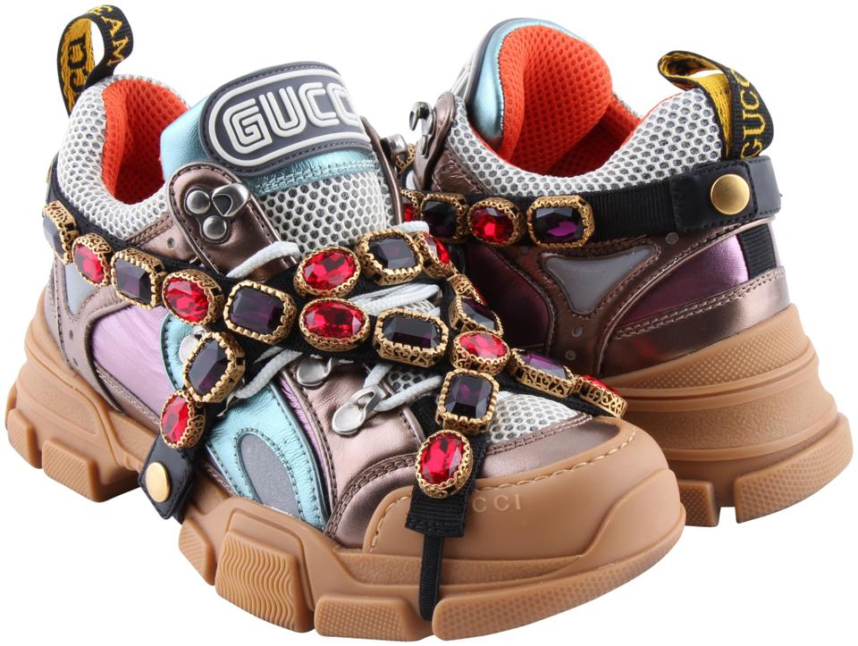 e5d947538 Gucci Multi Color Flashtrek Sneakers with Removable Crystals ...