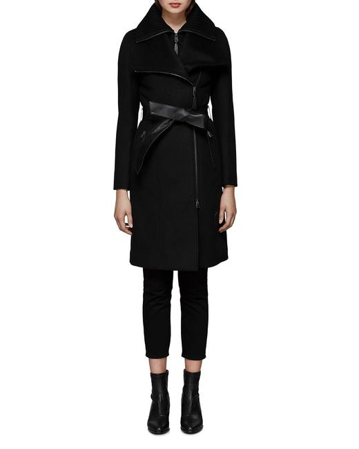Item - Black Women's Nori Belted Wool-blend with Leather Trim Coat Size 4 (S)