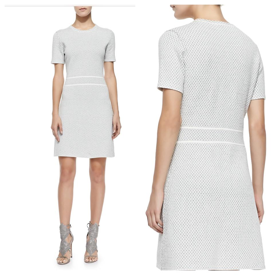 b2207d6af0e9f Theory Cream Gray Abreena Patterned Knit Short Casual Dress Size 8 ...