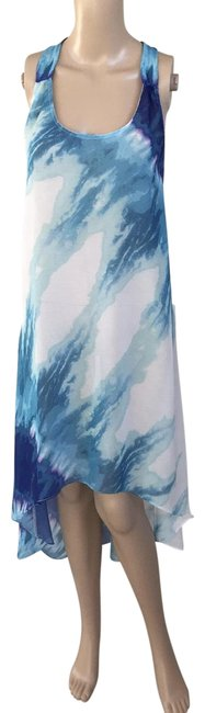 Item - Blue White Hi-lo Water Color Cover-up/Sarong Size 2 (XS)