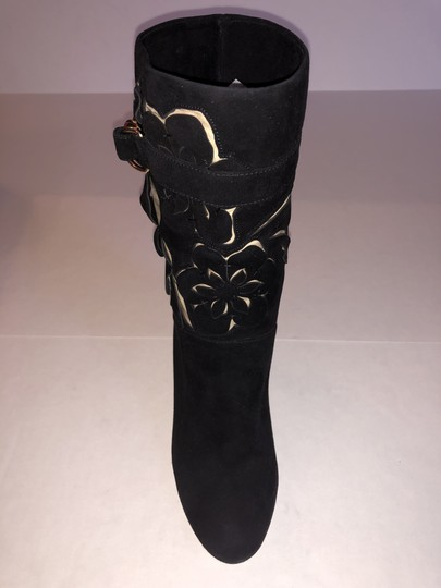Valentino Suede Rose Cutout Black Boots Image 1