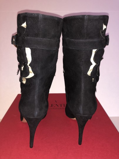 Valentino Suede Rose Cutout Black Boots Image 4