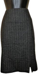 Banana Republic Stretchy Lined Wool Skirt Gray w/White Stripe