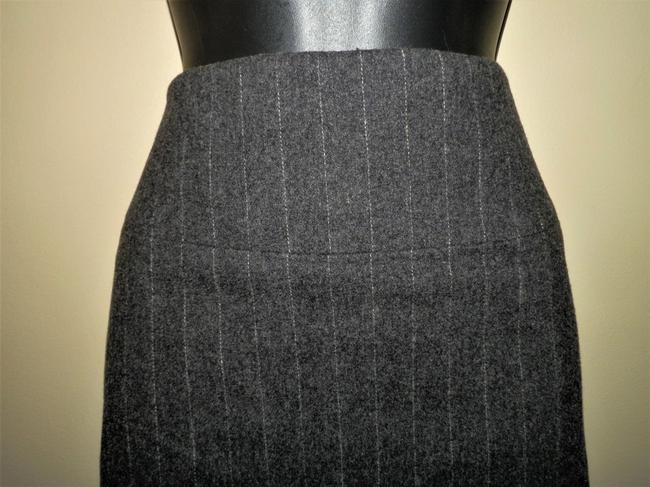 Banana Republic Stretchy Lined Wool Skirt Gray w/White Stripe Image 1