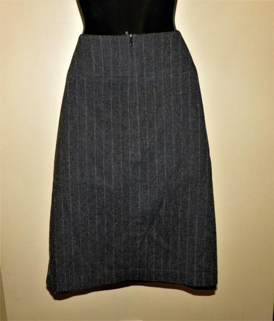 Banana Republic Stretchy Lined Wool Skirt Gray w/White Stripe Image 3