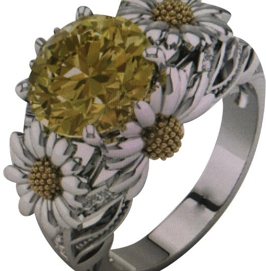 Preload https://img-static.tradesy.com/item/24674071/yellow-white-silver-sunflower-diamond-cocktail-art-deco-statement-ring-0-1-540-540.jpg