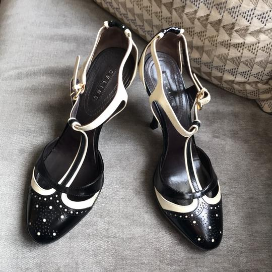 Céline T-strap Leather Heels Black and ivory Pumps Image 1
