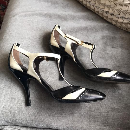Céline T-strap Leather Heels Black and ivory Pumps Image 11