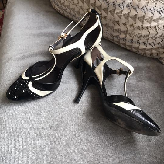 Céline T-strap Leather Heels Black and ivory Pumps Image 2
