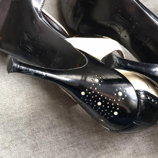 Céline T-strap Leather Heels Black and ivory Pumps Image 5