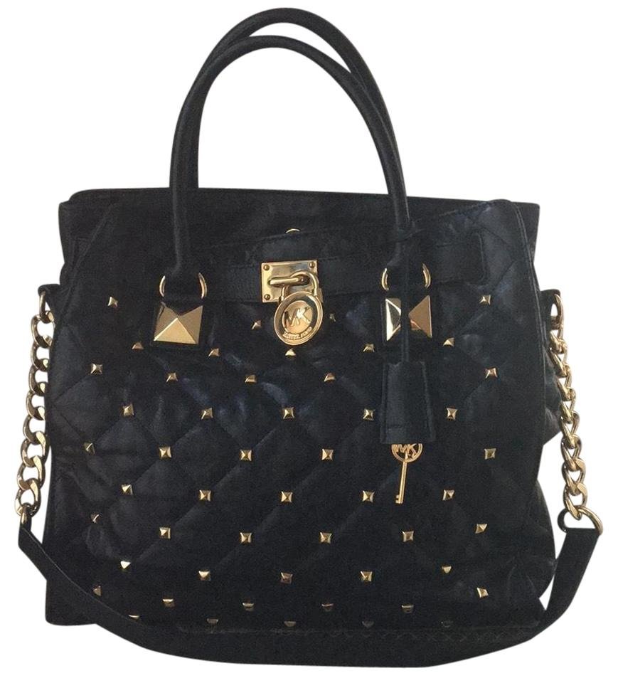 3e4b986a7507 Michael Kors Large Hamilton Studded Black and Gold Hardware Leather Lamb  Metal Tote