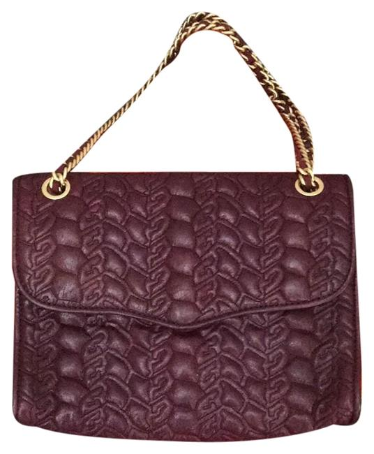 Item - W Quilted Flap Purse W/ Chain Strap Tassel Purple and Gold Leather Shoulder Bag