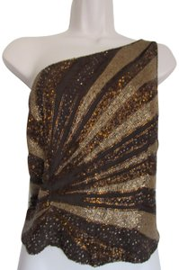 Cache Off The Shoulder Side Zipper Top Brown and Light Brown Beaded