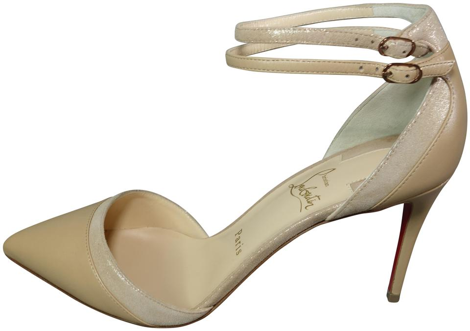 2bcf028580d0 Christian Louboutin Nude Beige Uptown Double 85 Leather Suede Point ...