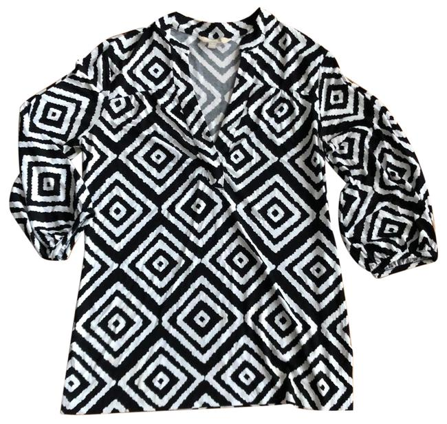 Item - Black and White Modern Geometric Tunic Size 10 (M)