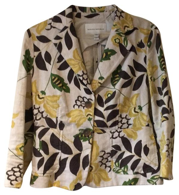 Item - Multi Beige Yellow Brown & Green Vintage Jacket Size 4 (S)