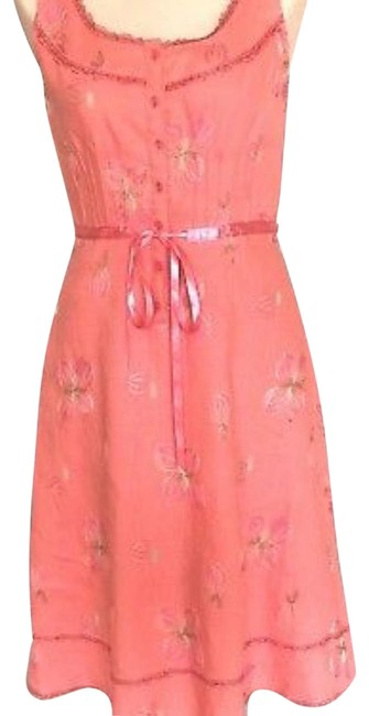 Item - Coral Linen Sleeveless Fit & Flare Mid-length Work/Office Dress Size 2 (XS)