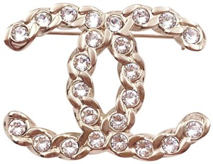 Chanel Chanel Brand New Gold Chain CC Crystal Brooch