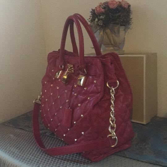 MICHAEL Michael Kors Tote in Red with Gold Hardware Image 1