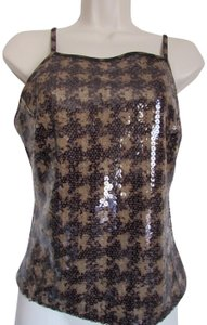 Express Bustier Pattern Size Medium Sequins Top Gingham Checkered/Animal
