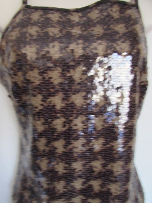 Express Bustier Pattern Size Medium Sequins Top Gingham Checkered/Animal Image 3