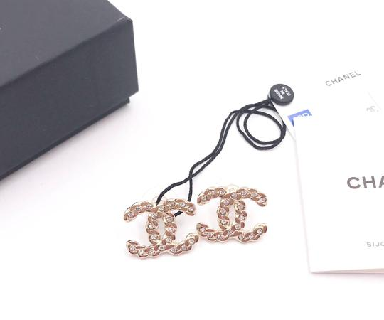 Chanel Chanel Brand New Gold Chain CC Crystal Piercing Earrings Image 1