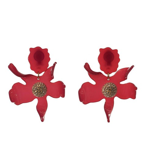 Lele Sadoughi BRAND NEW Lele Sadoughi Raspberry Red Crystal Lily Flower Earrings Image 1