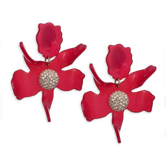Lele Sadoughi BRAND NEW Lele Sadoughi Raspberry Red Crystal Lily Flower Earrings Image 3