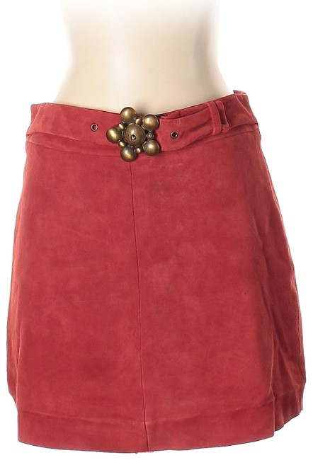 Item - Red Suede Leather Skirt Size 2 (XS, 26)
