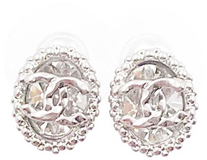 Chanel Chanel Brand New Silver CC Oval Crystal Stud Small Piercing Earrings