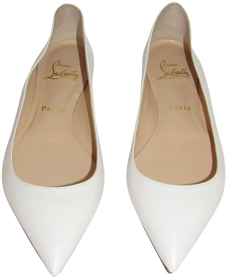 98577b90eb2c Christian Louboutin White Latte New Ballalla Leather Pointed Toe Ballet  Flats