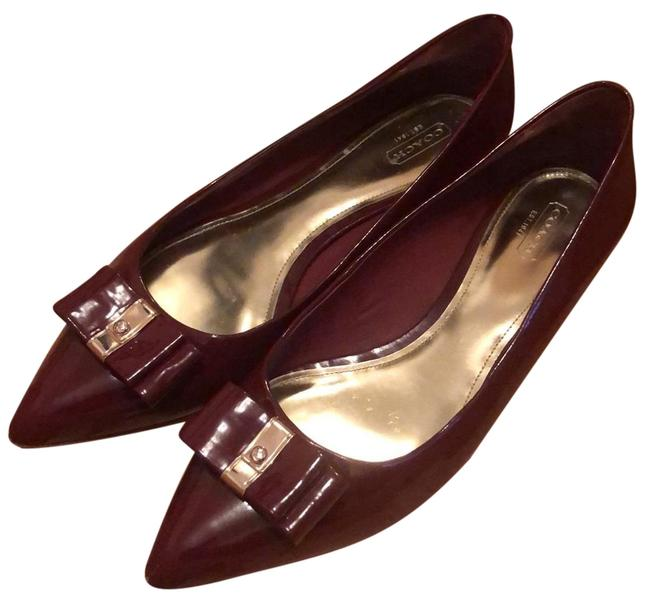 Item - Burgandy Patent Leather with Bow Embellishment Flats Size US 11 Regular (M, B)