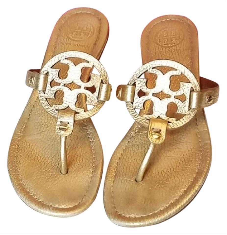 0d4f5b7cc Tory Burch Gold Miller - Tumbled Metallic Leather  50008679 Flat ...