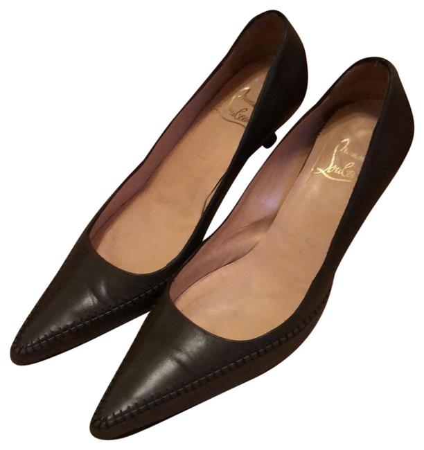 Item - Olive Brown Leather with Stitched Embellishment Pumps Size EU 38 (Approx. US 8) Regular (M, B)