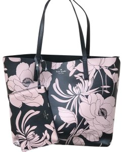 Kate Spade Plaid Reversible Large Winter Tote in navy floral