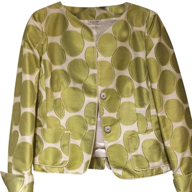 Item - Ivory with Silk Green Circles. Jacket Size 4 (S)