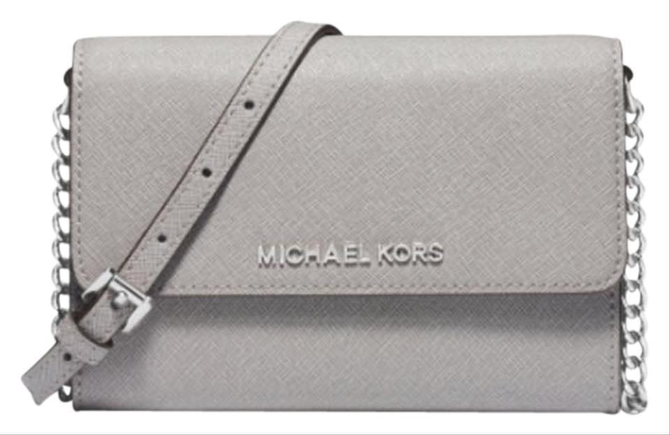 671e8e7accfd Michael Kors Jet Set Travel Large Phone Gray Leather Cross Body Bag ...