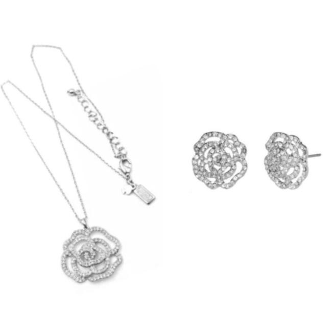 Item - Silver Crystal Rose Necklace & Earrings Set