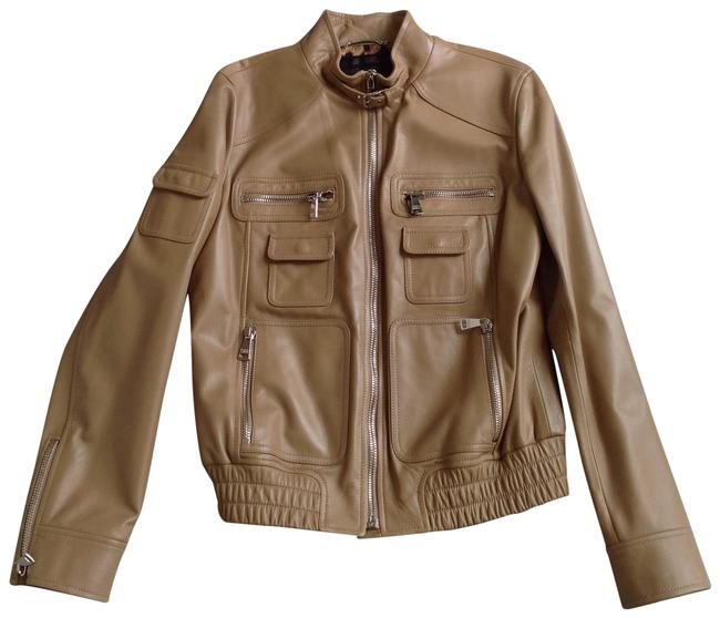 Item - Beige Dolce & Gabbana Lambs Leather Moto Jacket Size 10 (M)