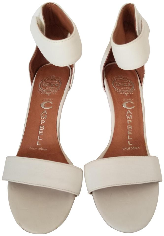 dc324141cf1 Jeffrey Campbell White Hough Leather Ankle Strap Open Toe Heels Pumps Size  US 6 Regular (M, B)