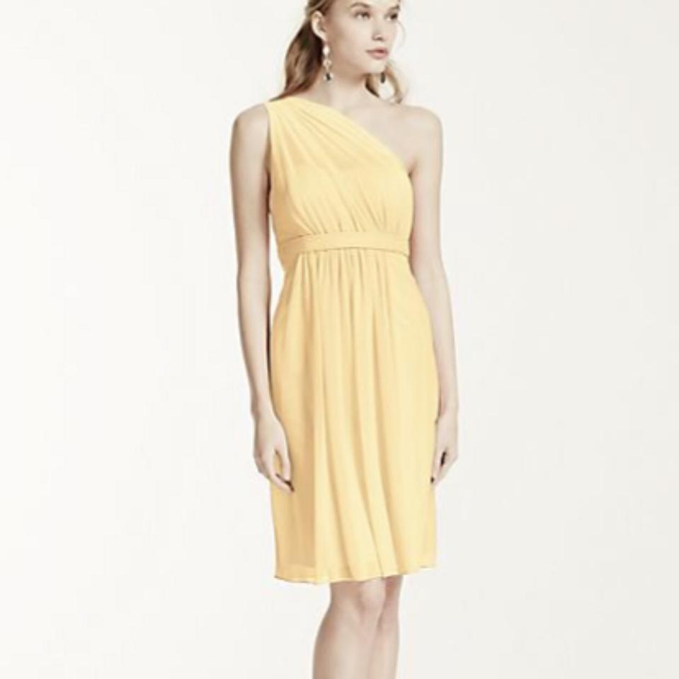 7a5ab76cf23 David s Bridal Canary (Yellow) Mesh One Shoulder Short Illusion Neck  Feminine Bridesmaid Mob Dress