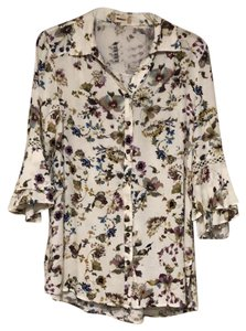 Altar'd State Button Down Shirt ivory multi