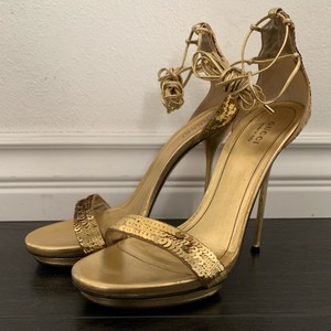 107e782162a6 Gucci Leather Sequin Stiletto Strappy Gold Sandals