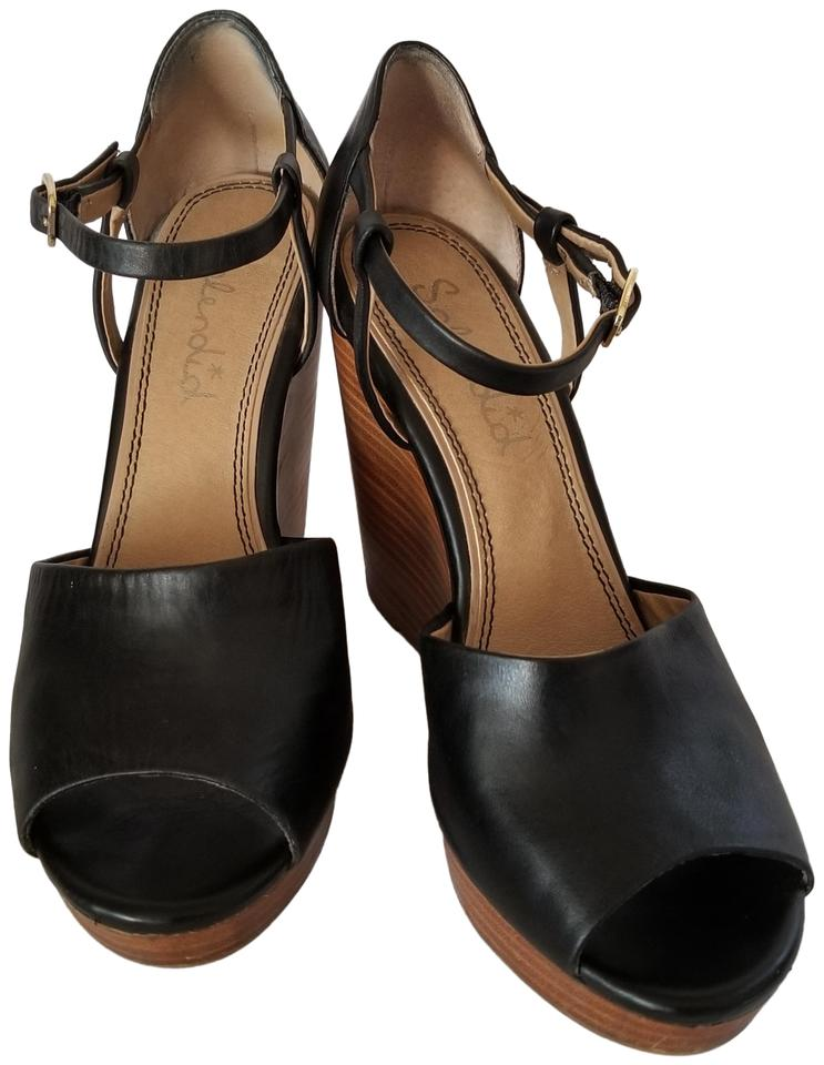 dd3708fcca63 Splendid Black Leather Wood Davie Strappy Peep Toe Platforms Wedges ...